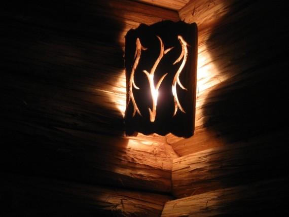 Светильник в Русской бане, освещение в парной, декор в парилке