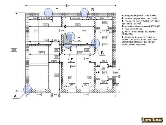 Архитектурно планировочное решение. Кладочный чертеж бани.